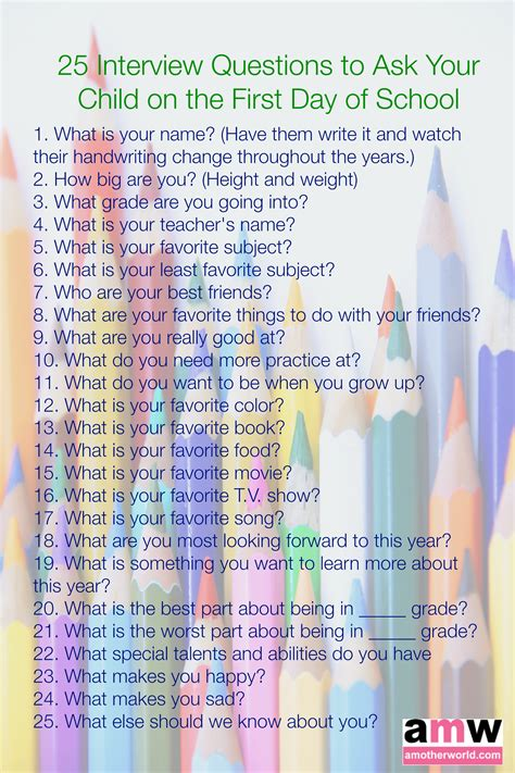25 questions to ask your child on the day