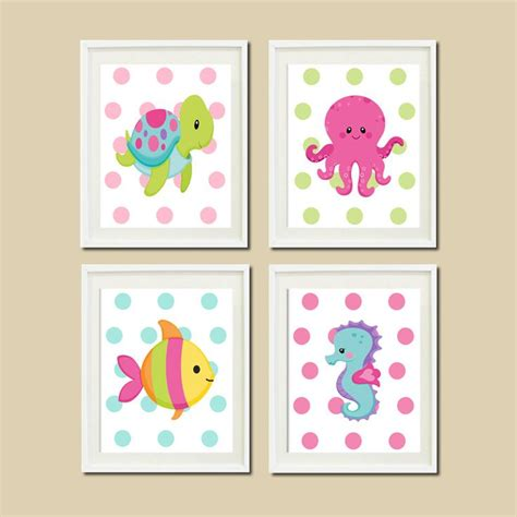 Baby Girl Nautical Ocean Sea Animals Wall Art Turtle Sea Nursery Decor