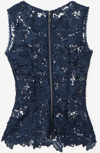 exclusive for intermix sleeveless lace cut out top navy in