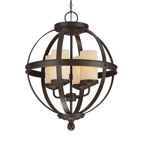 Wrought Iron Light Pendants Shop Sea Gull Lighting Sfera 18 5 In Autumn Bronze Wrought Iron Single Orb Pendant At Lowes