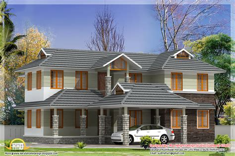 slanted roof house tile roof house in kerala studio design gallery