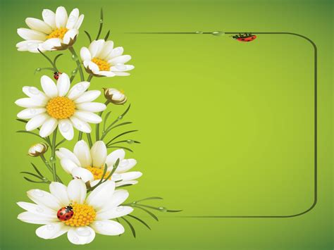 Ladybug And Daisies Ppt Template Backgrounds Flowers Green White Templates Free Ppt Flower Template Powerpoint