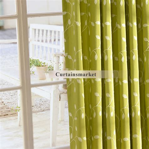 leaf pattern window curtains leaf pattern cotton country green window curtains