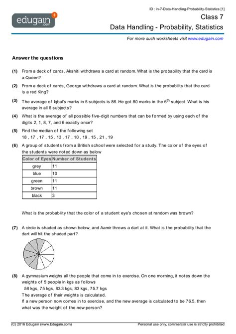 Data And Statistics Worksheets by Maths Data Handling Worksheets Grade 4 Data Handling Mathsdiary Learnhive Cbse Grade 6