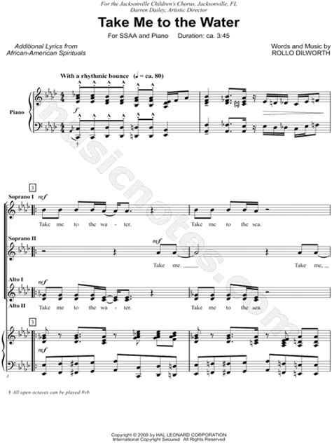 printable lyrics something in the water rollo dilworth quot take me to the water quot ssaa choir piano