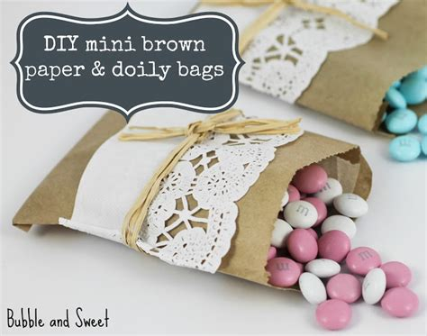 Sweet Wedding Paper Bag and sweet diy mini brown paper and doily snack bags