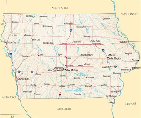 detailed map of iowa large map of iowa state with roads highways relief and