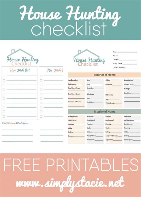 printable new house checklist house hunting checklist simply stacie