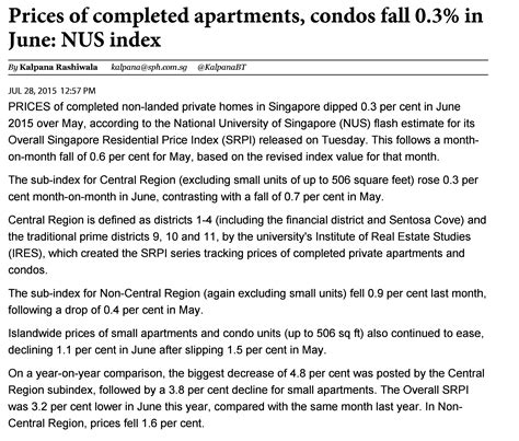 Do Apartment Prices Go In The Fall Nus Index Shows Prices For Completed Apartments Condos