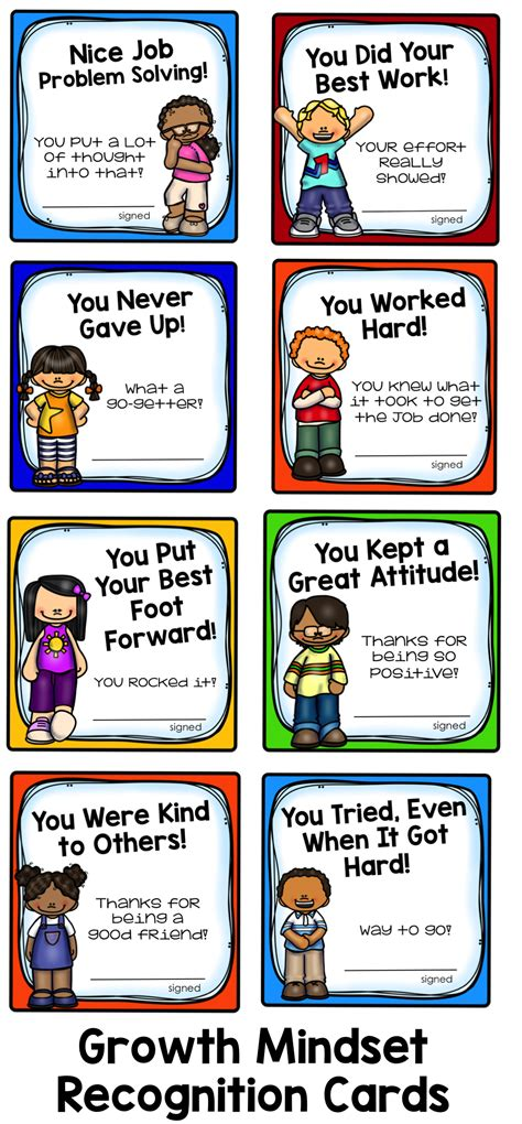 printable student postcards growth mindset student recognition cards positive things