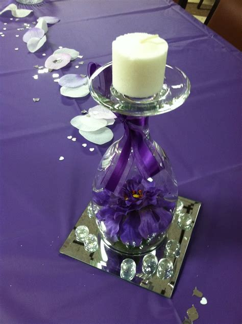 Wine Glass Table Decoration by Table Decoration Inverted Wine Glass Containing Silk