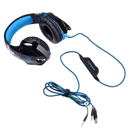 Headset Each G2000 kotion each g2000 gaming headset bass with led light black blue jakartanotebook