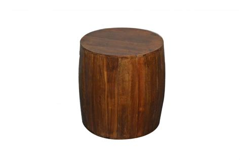 Wood Stool End Table by Rustic Reclaimed Wood Drum Barrel Style Side Table Stool