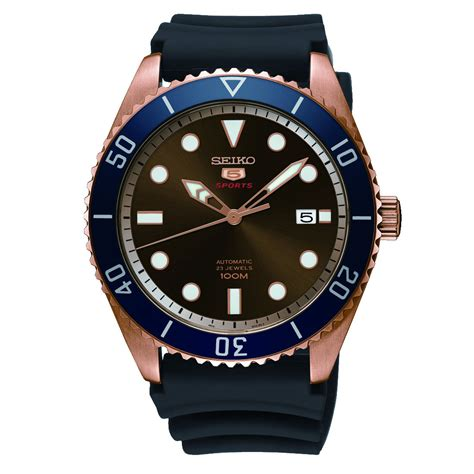 Seiko 5 Rubber seiko 5 sports srpb96 automatic brown rubber mens