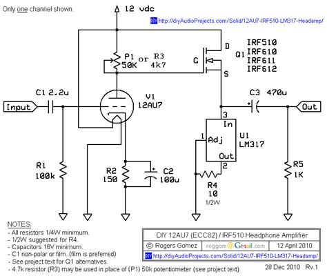 transistor headphone lifier schematic np 100v12 diy 12au7 ecc82 irf510 mosfet headphone lifier