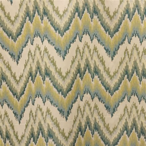 Blue Green Upholstery Fabric Torenia Teal Blue Green Woven Ikat Upholstery Fabric