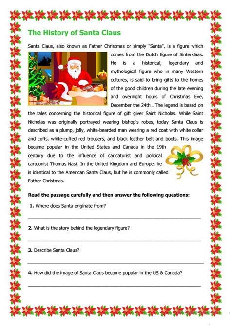 grade 2 reading comprehension christmas the history of santa claus worksheet free esl printable worksheets made by teachers
