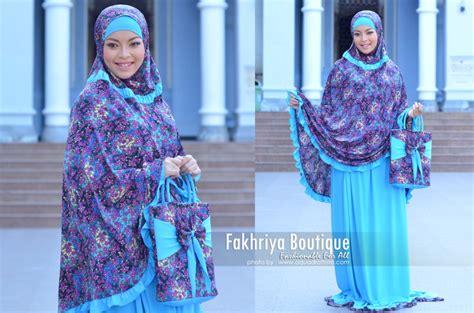 Mukena Biru mukena hafiyya biru turkis baju muslim gamis modern