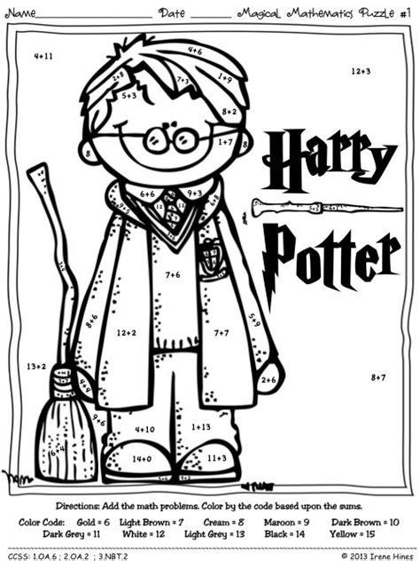 harry potter coloring pages color by number 23 best rekenen kleurplaten math coloringpages images on