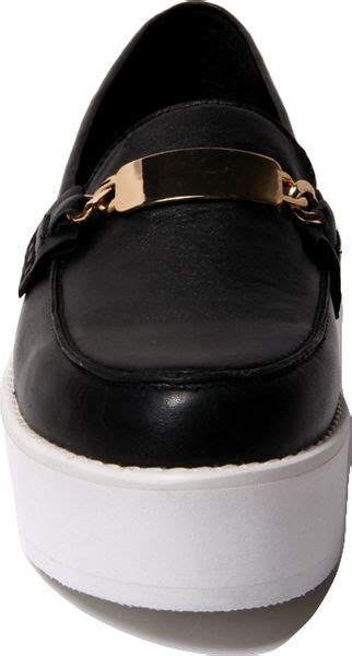 steve madden j fresh platform loafer in black black gold lyst