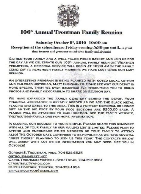free family reunion letter templates sle family reunion letters the best letter sle