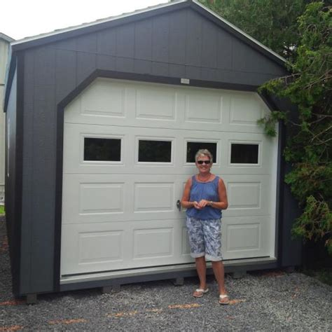 gable roof garage style storage shed   sheds