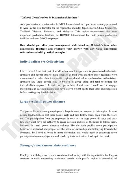 The Company Essay by Cultural Considerations In International Business Academic Essay As