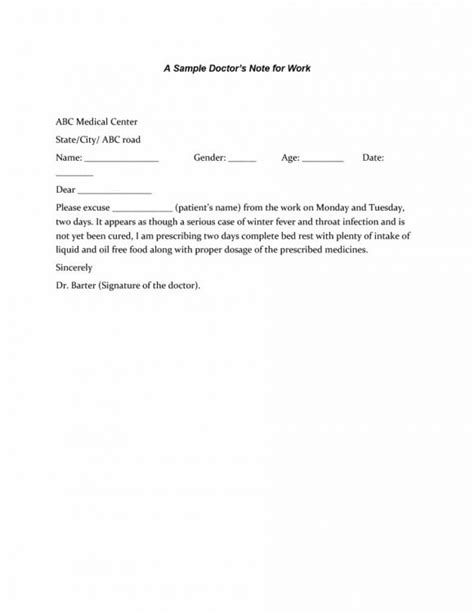 dr note template free 42 doctor s note templates for school work