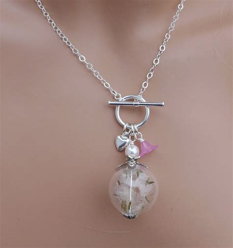 dandelion necklace real dandelion seed pearl silver lariat