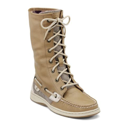 sperry top sider boots sperry top sider ladyfish boots in beige linen lyst