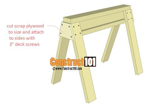Diy 2x4 Bench Sawhorse Plans Construct101