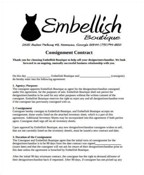 consignment shop contract template sle consignment contract forms 9 free documents in pdf