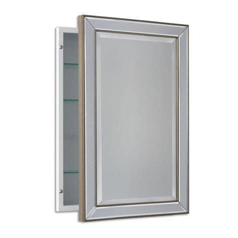 Medicine Cabinet Bathroom Mirror Deco Mirror 16 In W X 26 In H X 5 In D Framed Single Door Recessed Metro Beaded Bathroom