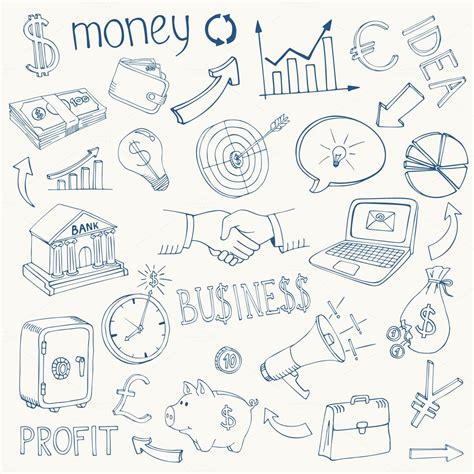 doodle money doodle business and money icons illustrations on