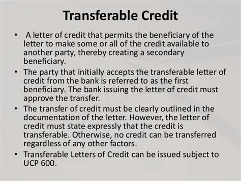 Beneficiary Credit Letter documentary credit