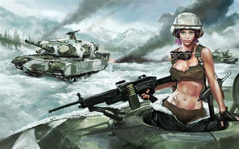 wallpaper girl military women war machine gun army military glasses tanks artwork