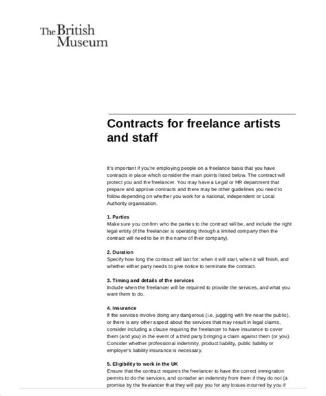 sle freelance contract agreement 7 exles in word pdf