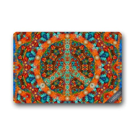 Peace Doormat - custom peace sign tie dye doormat cover rug outdoor indoor
