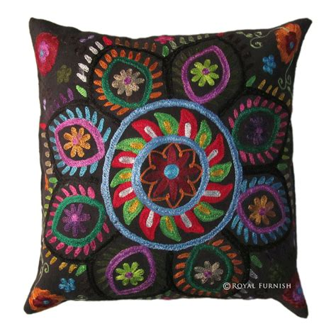 16 quot indian suzani embroidered decorative throw pillow