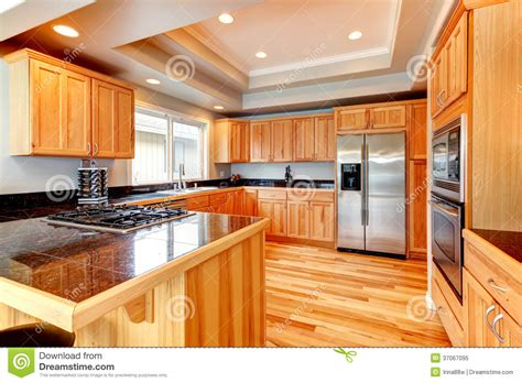 bright wood kitchen  coffered ceiling royalty  stock photo image