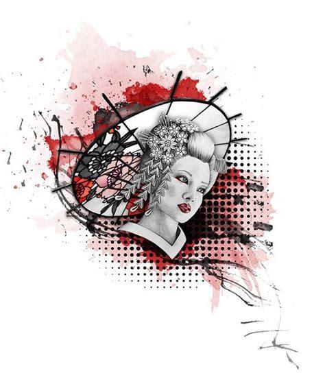 tattoo trash polka geisha chinese woman portrait trash polka tattoo design tattoo