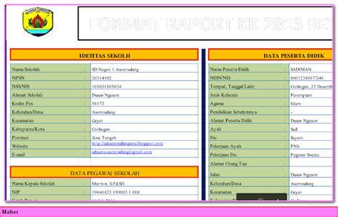 format buku excel download contoh buku raport k 13 terbaru format excel