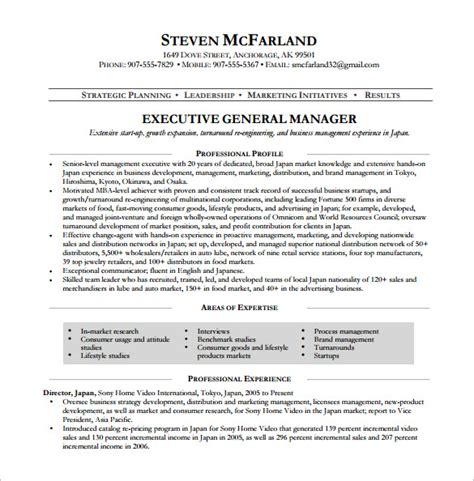 General Resume Template by General Manager Purchase Resume
