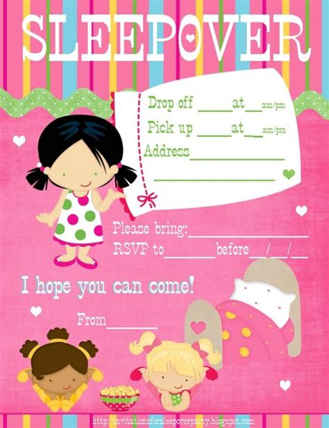 sleepover party invitations templates free party