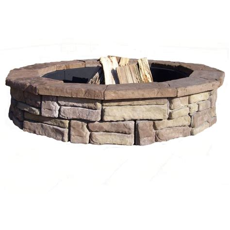 Home Depot Firepits Fossill Outdoor Pits 60 In Concrete Random Brown Pit Kit Brown