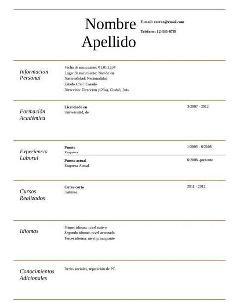 Plantilla Curriculum Vitae Gratis Para Rellenar 2015 Plantilla De Curriculum Vitae B 225 Sico Experiencia Modelo Curriculum