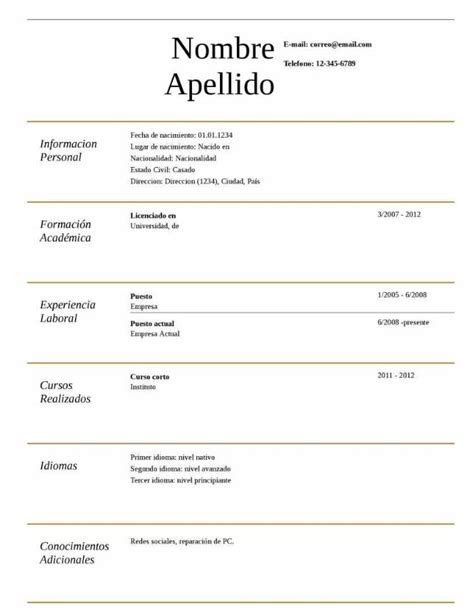 Plantillas De Resumen Curriculum Para Rellenar Plantilla De Curriculum Vitae B 225 Sico Experiencia Modelo Curriculum