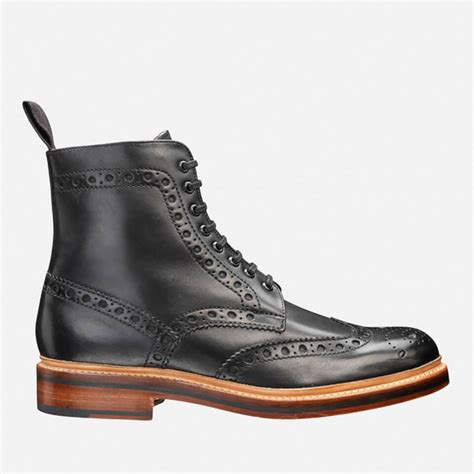 black brogue boots grenson s fred brogue boots black free uk delivery