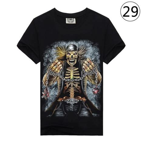 gothic t shirt prints punk mens 3d tattoo print animal graphic shirts short