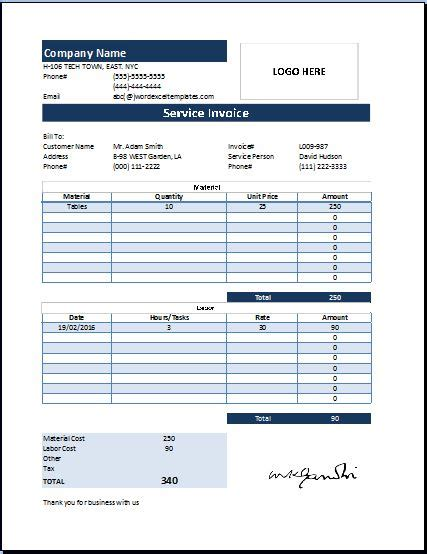 Customer Invoice Template Excel ms excel customer service invoice template word excel